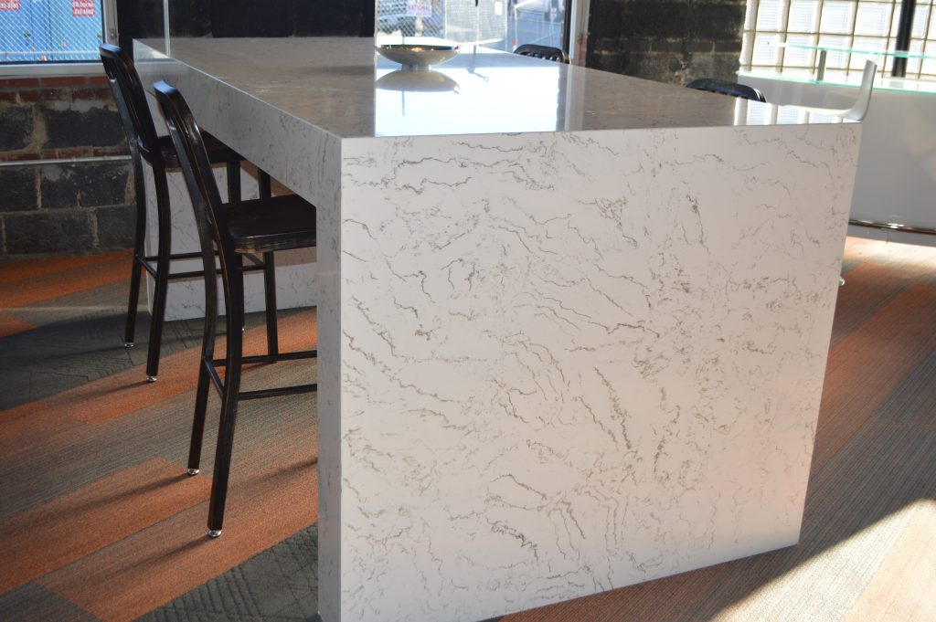 White Carrera Quartz Table Oz Enterprises Llc